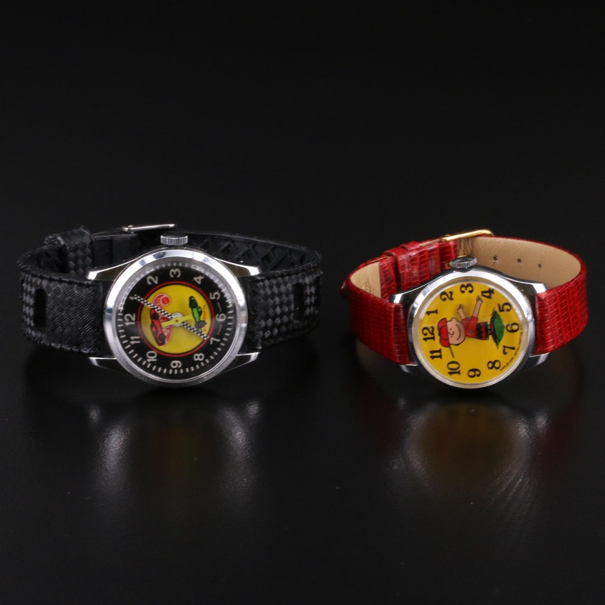 Vintage Hot Wheels and Charlie Brown Stem Wind Wristwatch