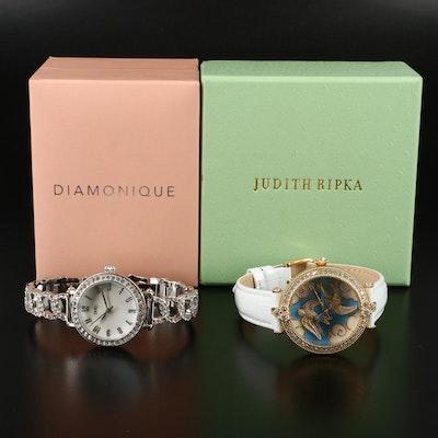 """Judith Ripka """"Swallow"""" and Diamonique """"Pavé"""" Quartz Wristwatches"""