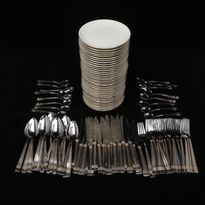 White and Gold Dessert Plates with Stainless Steel Flatware