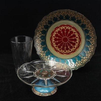 Glass Serving Bowl, Cake Stand, and Syndicate Sales Inc. Vase