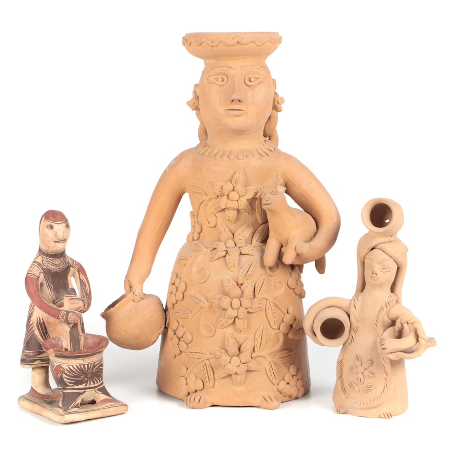 Mesoamerican Style Pottery Figures, 20th Century