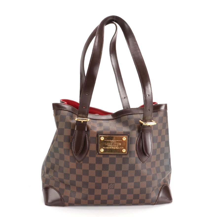 Louis Vuitton Hampstead MM Tote in Damier Ebene Canvas and Smooth Leather