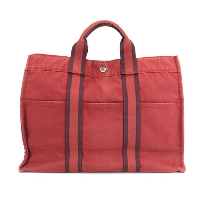 Hermès Fourre Tout MM Tote in Rust and Burgundy Cotton Canvas
