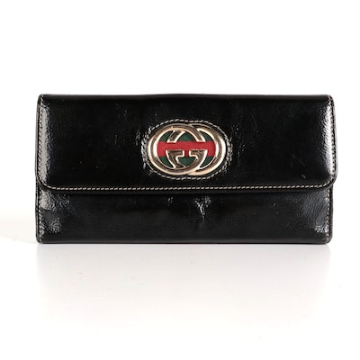 Gucci GG Web Continental Wallet in Black Patent Leather