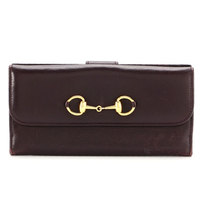 Gucci Horsebit Continental Wallet in Dark Brown Smooth Leather