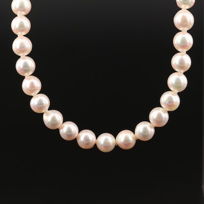 Akoya Pearl Necklace with Floral Clasp