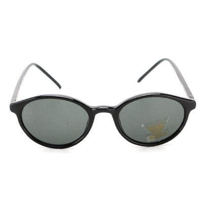 Round Sunglasses in Black with Hand-Polished Frame