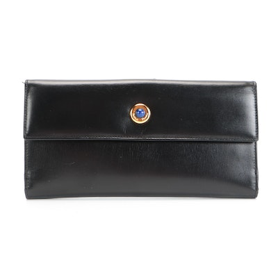 Paloma Picasso Gemstone Continental Checkbook Wallet in Black Leather