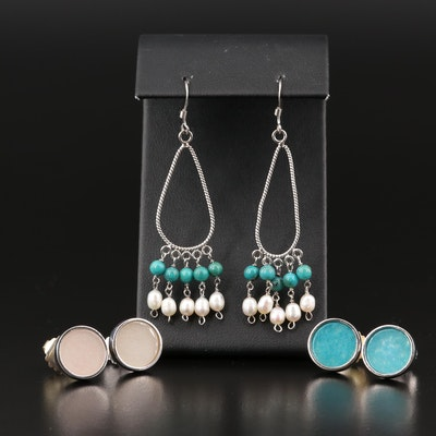 Sterling Stud and Drop Earrings Featuring Pearl and Quartzite