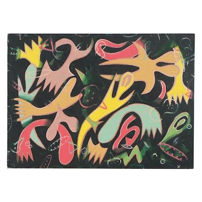 Michael Sweeney Abstract Acrylic Painting on Drywall