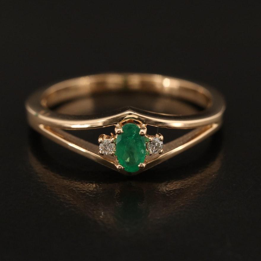 EFFY 14K YELLOW GOLD DIAMOND, NATURAL EMERALD RING