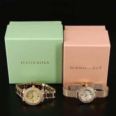 """Judith Ripka """"Summit and Diamonique """"Aurora Borealis"""" Wristwatches"""