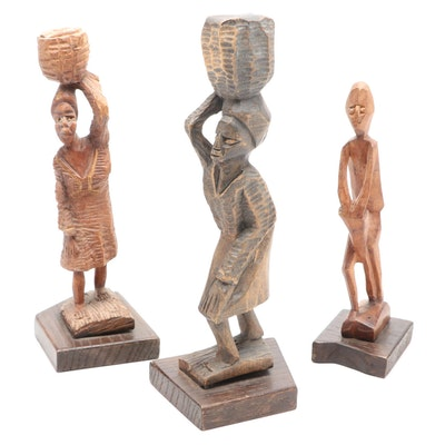 African Style Hand-Carved Wood Figures
