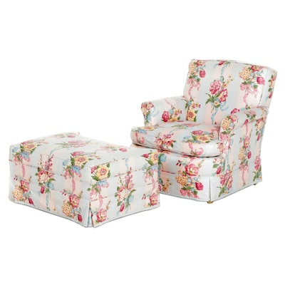 Chintz Upholstered Armchair and Ottoman, Late 20th Century