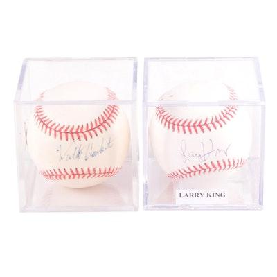 Walter Cronkite and Larry King Signed Rawlings Major League Baseballs, COAs