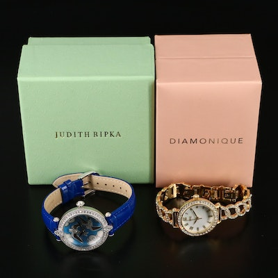 """Judith Ripka """"Swallow"""" and Diamonique """" Pave Chain Link"""" Wristwatches"""