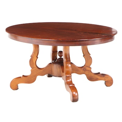 Louis Philippe Style Walnut Oval Dining Table