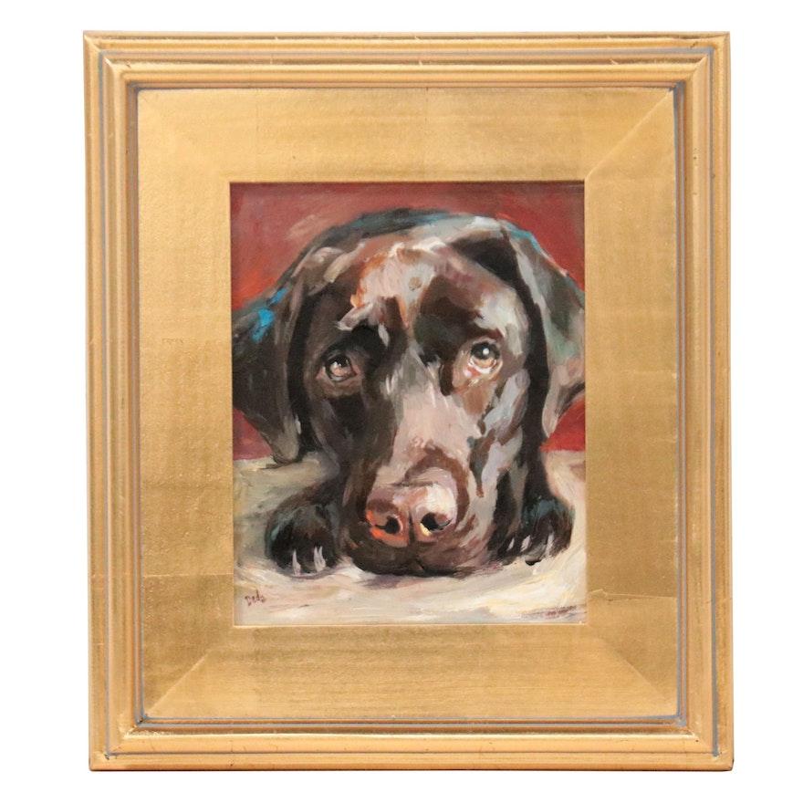 "Adam Deda Oil Painting ""Brown Labrador,"" 2021"