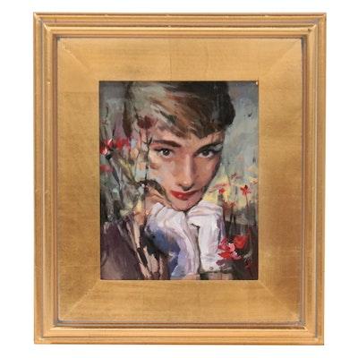 "Adam Deda Oil Painting ""Audrey and Poppies,"" 2021"