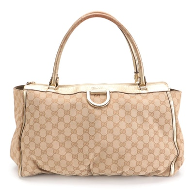 Gucci D-Ring Tote in GG Canvas with Gold Metallic Leather Trim