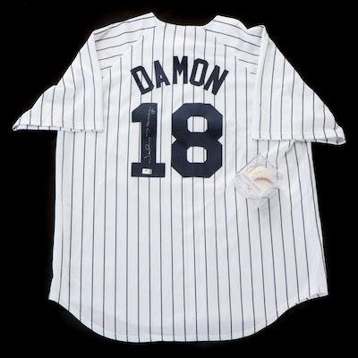 Johnny Damon Signed Majestic New York Yankees Jersey and Rawlings Baseball, COA
