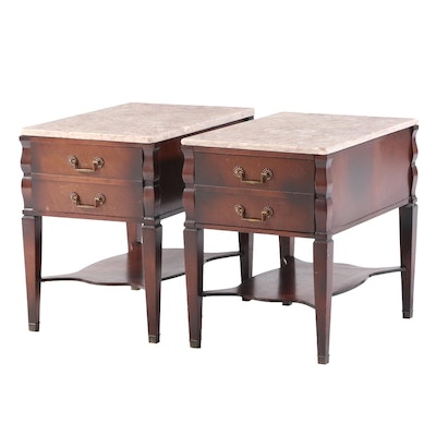 Pair of Mahogany and Marble Top Side Tables, Mid to Late 20th Century