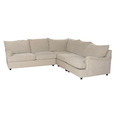 Pottery Barn Four-Piece Upholstered Sectional Sofa