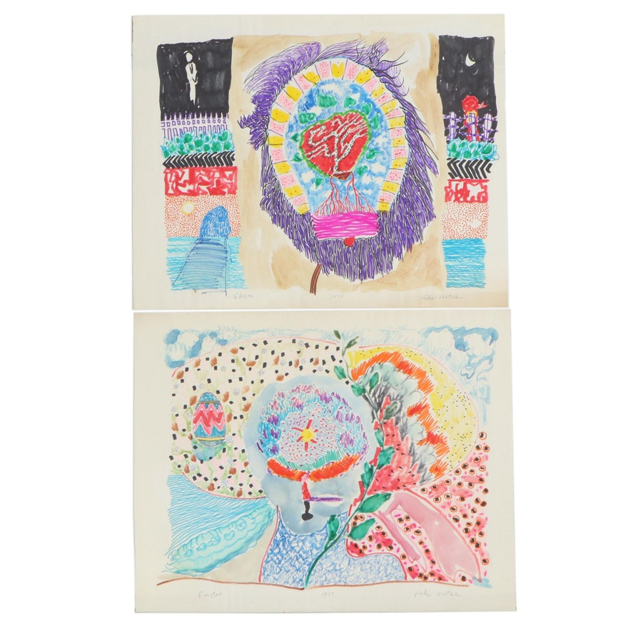 """Philip the Transplant Ink and Graphite Drawings """"Edison"""" and """"Easter,"""" 1977"""