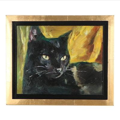 "Adam Deda Oil Painting ""Black and Gold,"" 21st Century"