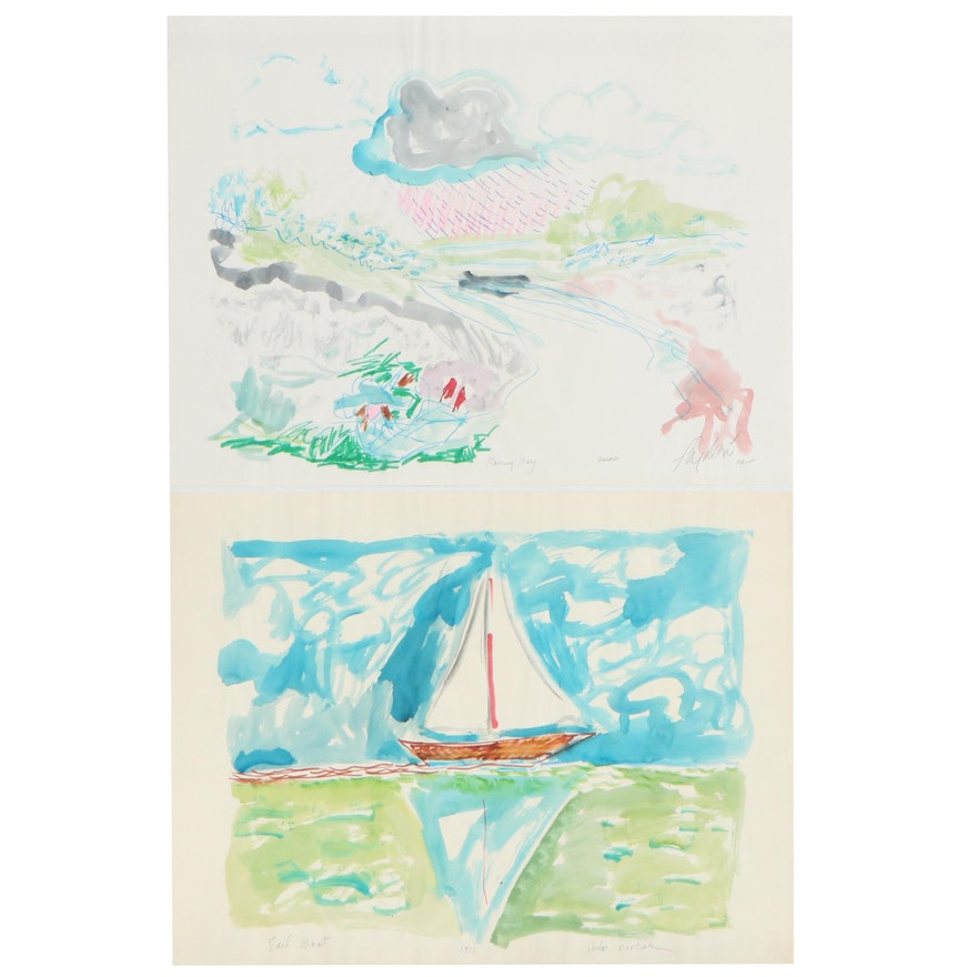 """Philip the Transplant Nautical Watercolor Paintings """"Sail Boat"""" and """"Rainy Day"""""""