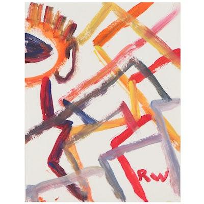 Robert Wright Abstract Folk Art Acrylic Painting