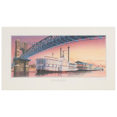 "Offset Lithograph ""Covington Landing,"" Late 20th Century"