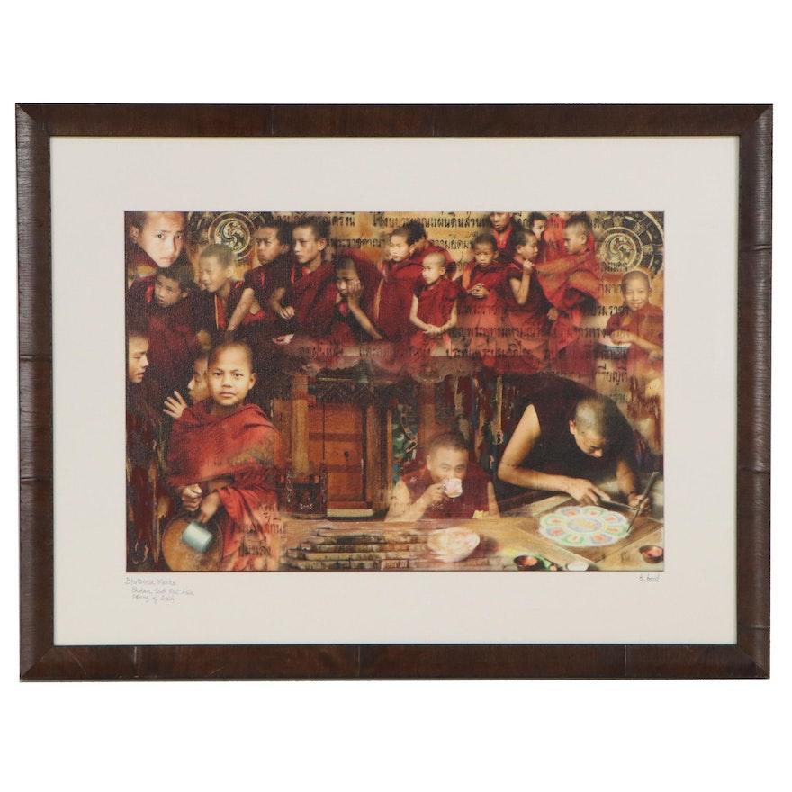 """Barbara Bond Embellished Chromogenic Photograph """"Bhutanese Monks,"""" 2004"""