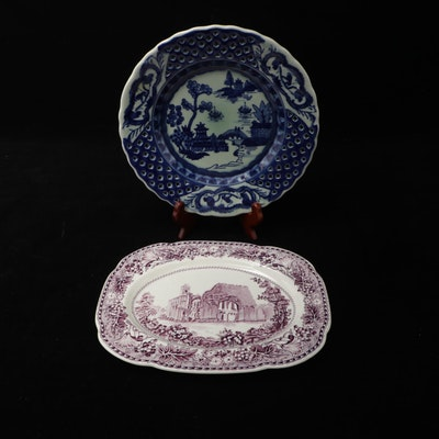 """Woods and Sons """"Glastonbury Abbeys"""" Transferware Platter and Reticulated Plate"""