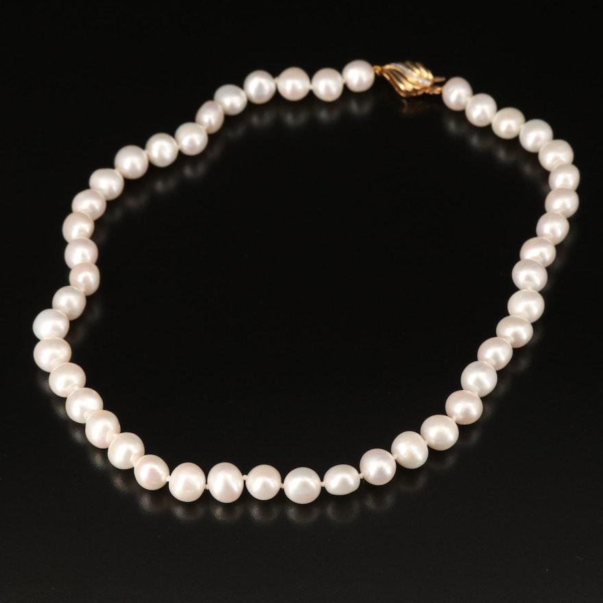 Pearl Princess Length Necklace with 14K Diamond Clasp
