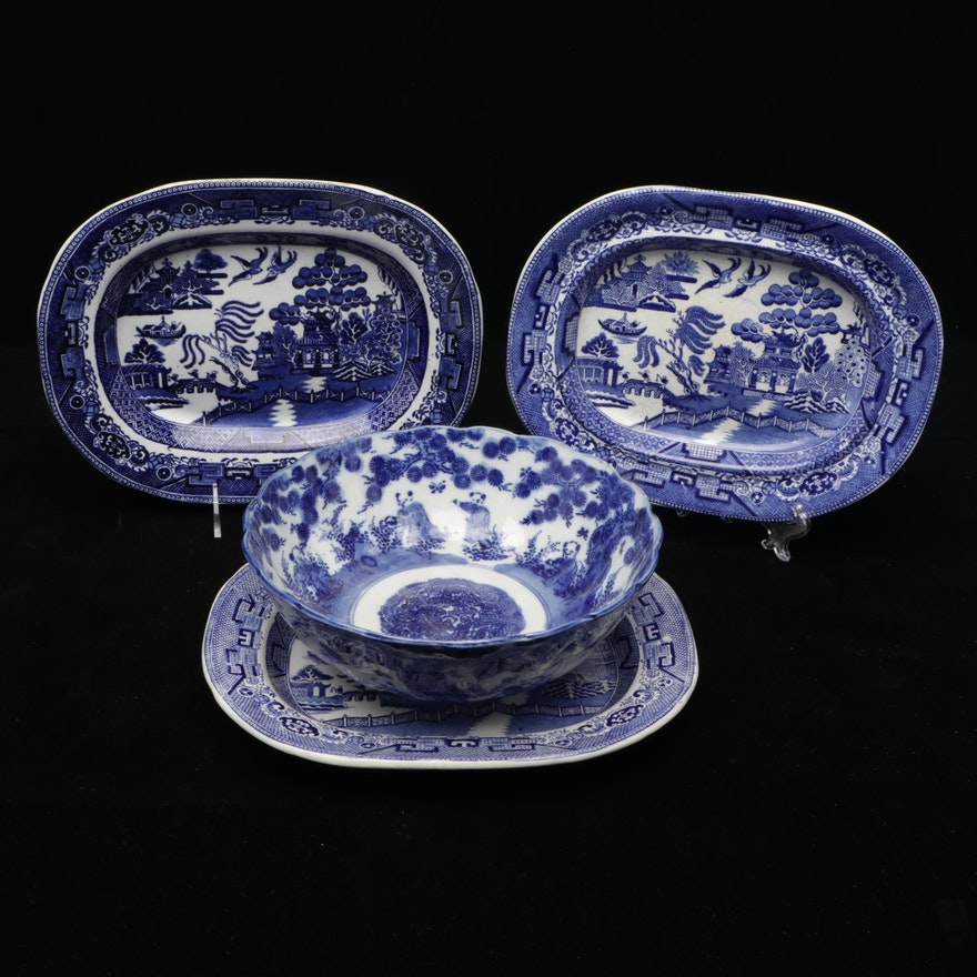 English Ironstone Blue Willow Platters with Chinese Blue and White Bowl
