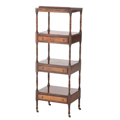 Brandt George III Style Mahogany Four-Tier Whatnot, Mid to Late 20th Century