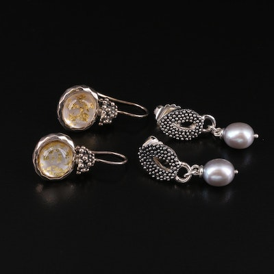 Michael Dawkins Earrings with Quartz Mother of Pearl Doublet and Pearl