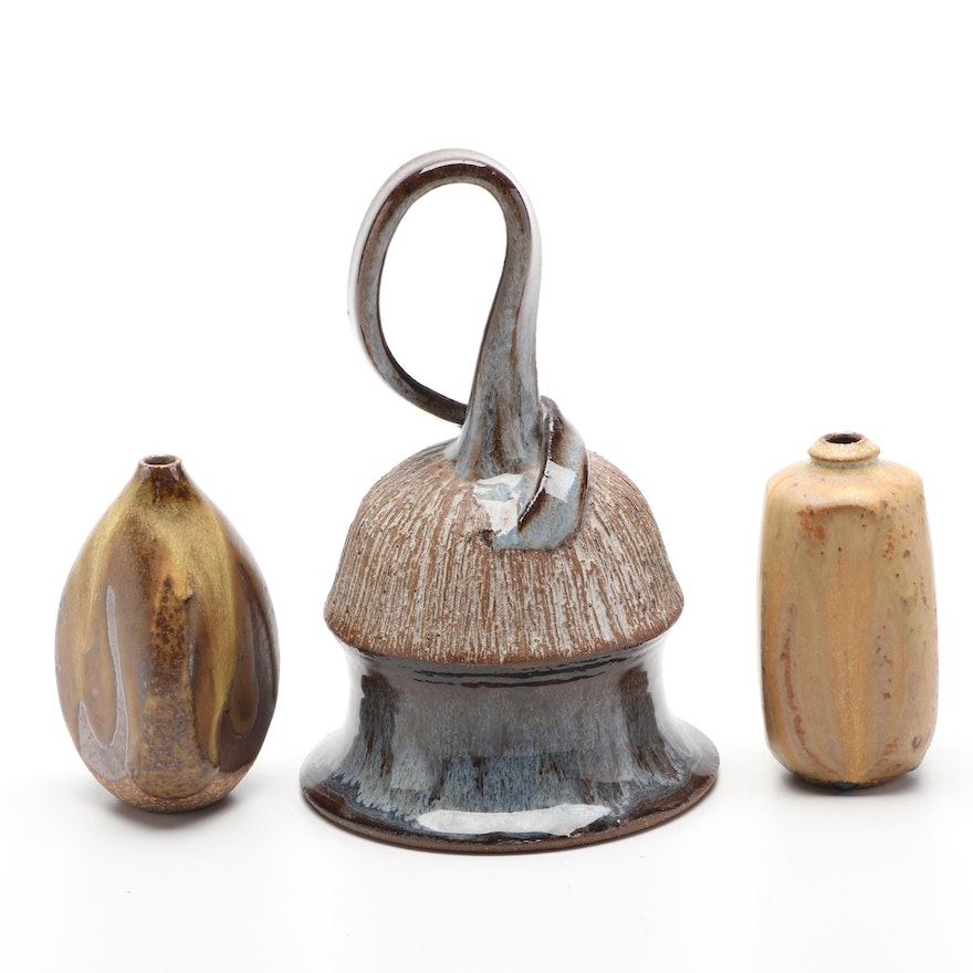 Contemporary Studio Pottery Bell and Vases