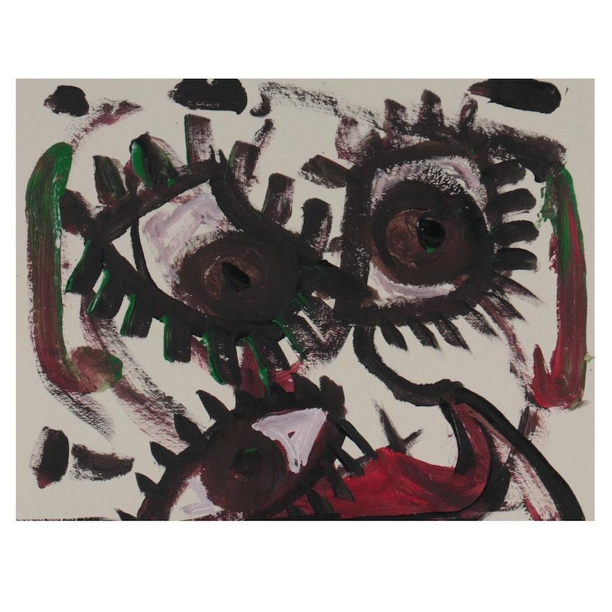 Robert Wright Folk Art Acrylic Painting of Eyes