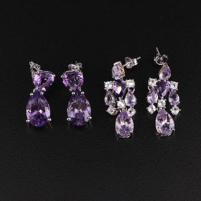 Sterling Amethyst and Topaz Earrings