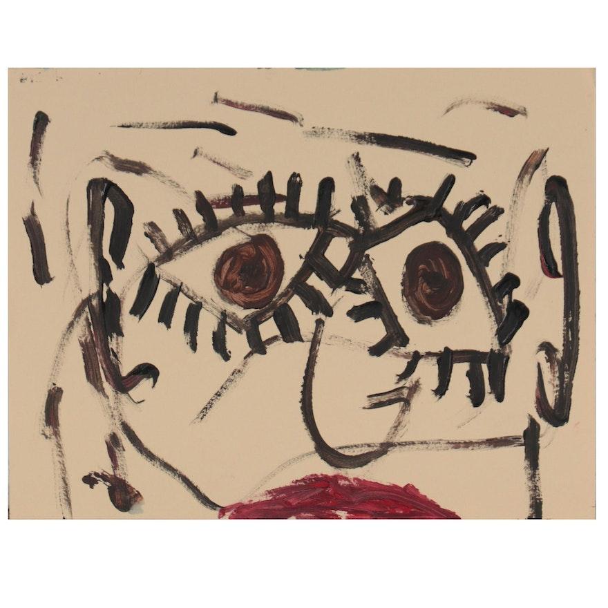 Robert Wright Folk Art Acrylic Portrait, Circa 2000