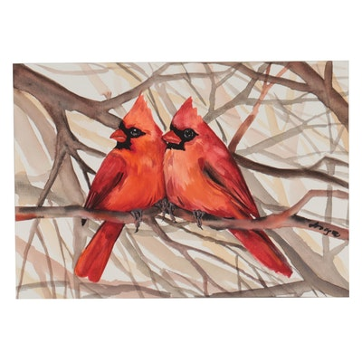 Anne Gorywine Watercolor Painting of Cardinals, 2021