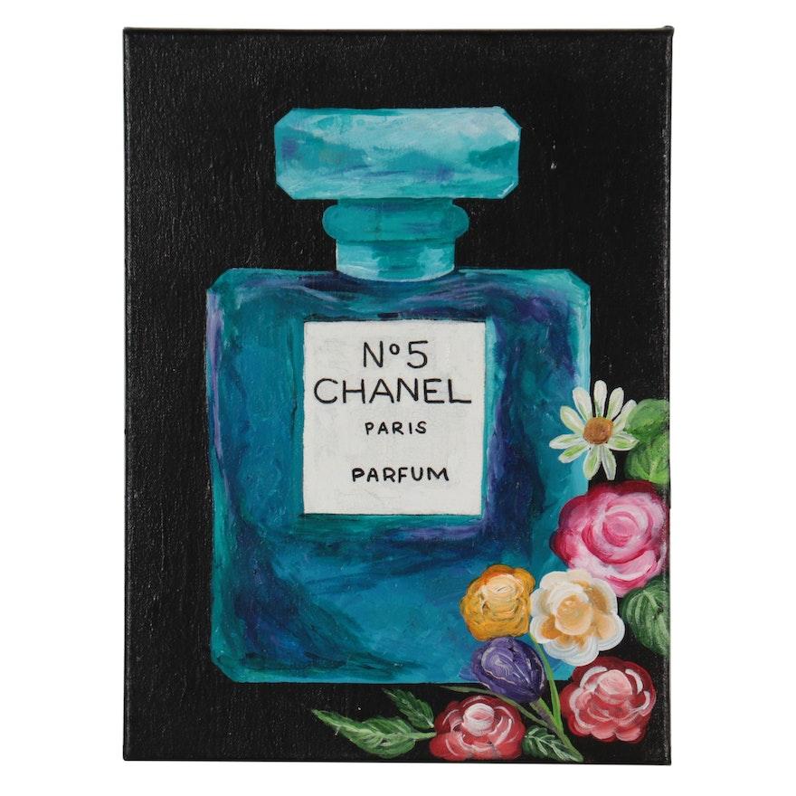 "Lakshmi Home Decor Acrylic Painting ""Chanel No. 5,"" 21st Century"