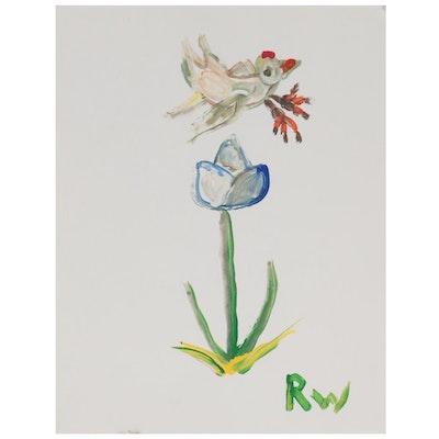 Robert Wright Folk Art Acrylic Painting of Bird and Flower