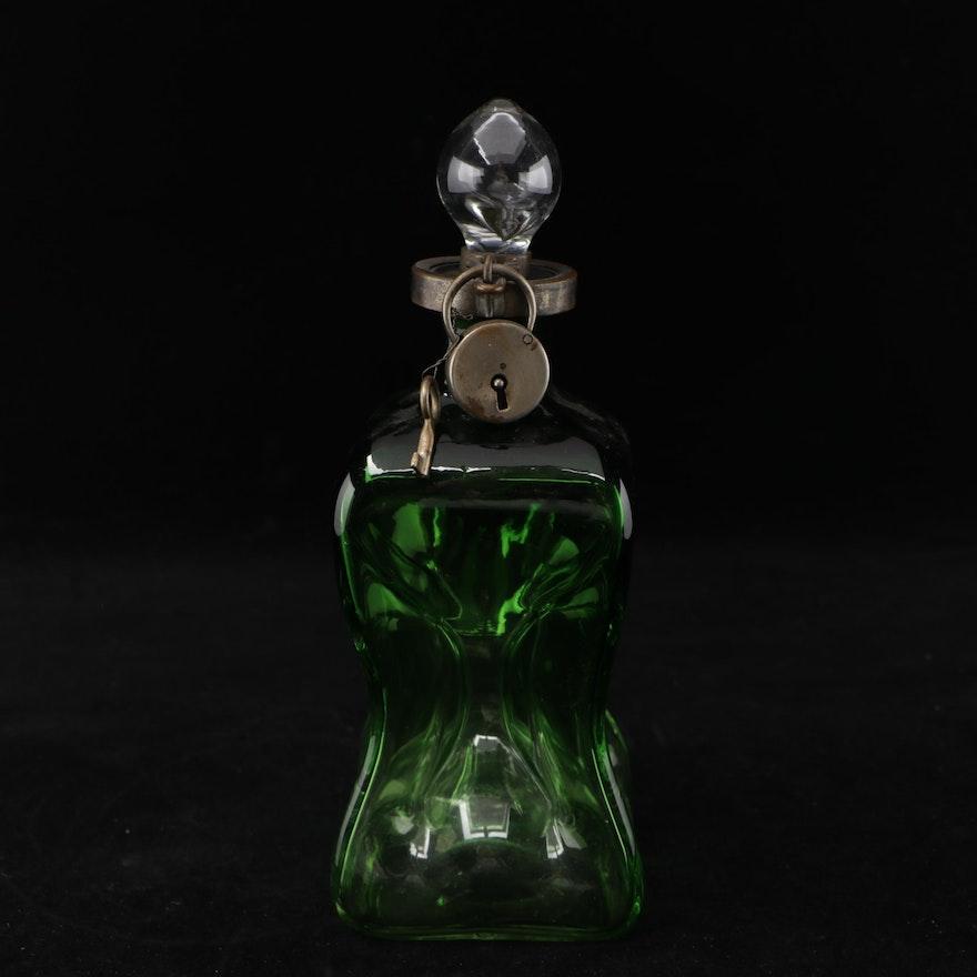 Green Pinch Glass Locking Decanter, 19th Century