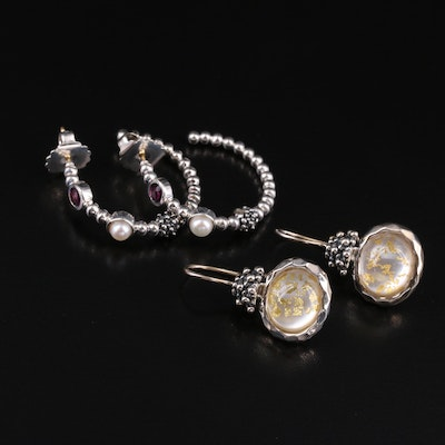 Michael Dawkins Earrings with Quartz, Mother of Pearl and Pearl
