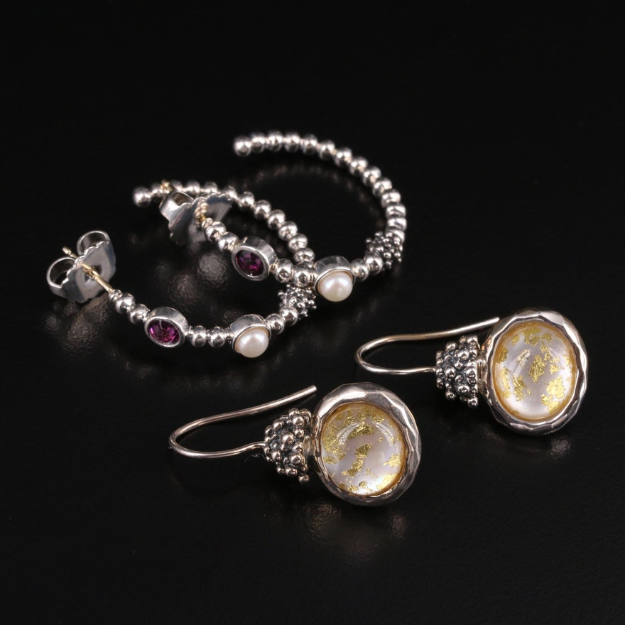 Michael Dawkins Sterling Earrings with Quartz, Mother of Pearl and Pearl
