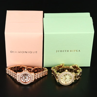 "Judith Ripka ""Summit"" and Diamonique Rose Gold Tone ""Aurora Borealis"" Watches"