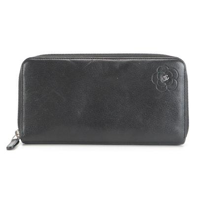 Chanel Camellia Logo Black Leather Continental Zipper Wallet